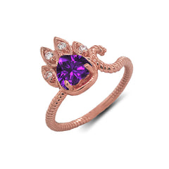 Dainty Genuine Heart Amethyst Paw Print Rope Ring in Rose Gold