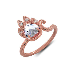 Dainty Genuine Heart Aquamarine Paw Print Rope Ring in Rose Gold