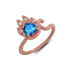 Dainty Genuine Heart Blue Topaz Paw Print Rope Ring in Rose Gold