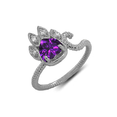 Dainty Genuine Heart Amethyst Paw Print Rope Ring in Sterling Silver