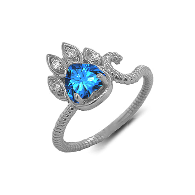 Dainty Genuine Heart Blue Topaz Paw Print Rope Ring in White Gold