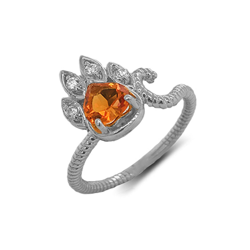 Dainty Genuine Heart Citrine Paw Print Rope Ring in White Gold