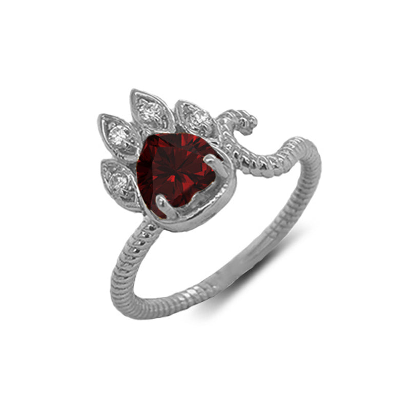 Dainty Genuine Heart Garnet Paw Print Rope Ring in White Gold