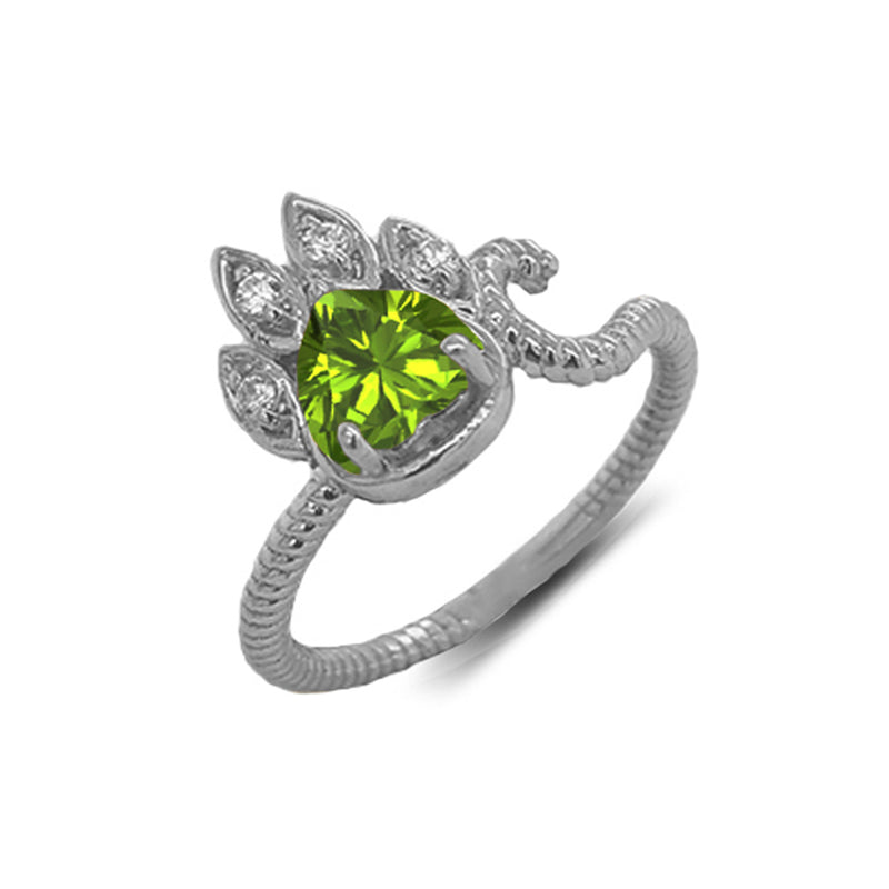 Dainty Genuine Heart Peridot Paw Print Rope Ring in White Gold