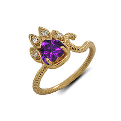 Dainty Genuine Heart Amethyst Paw Print Rope Ring in Yellow Gold