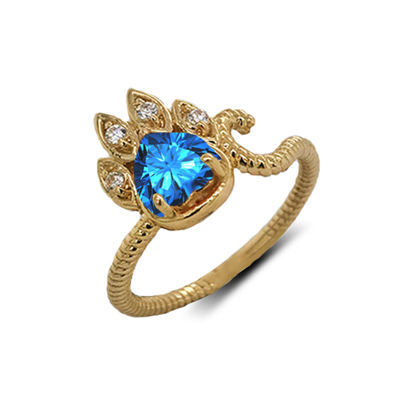 Dainty Genuine Heart Blue Topaz Paw Print Rope Ring in Yellow Gold