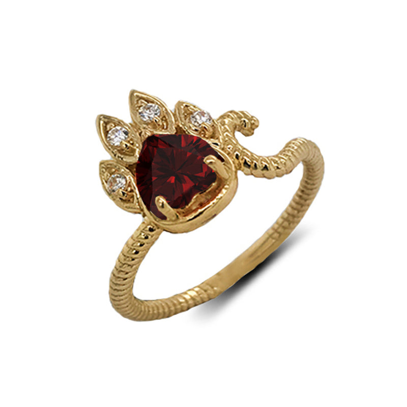 Dainty Genuine Heart Garnet Paw Print Rope Ring in Yellow Gold