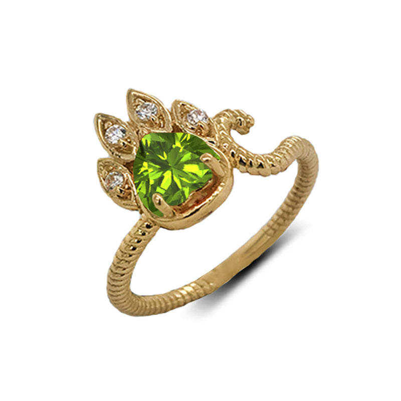 Dainty Genuine Heart Peridot Paw Print Rope Ring in Yellow Gold