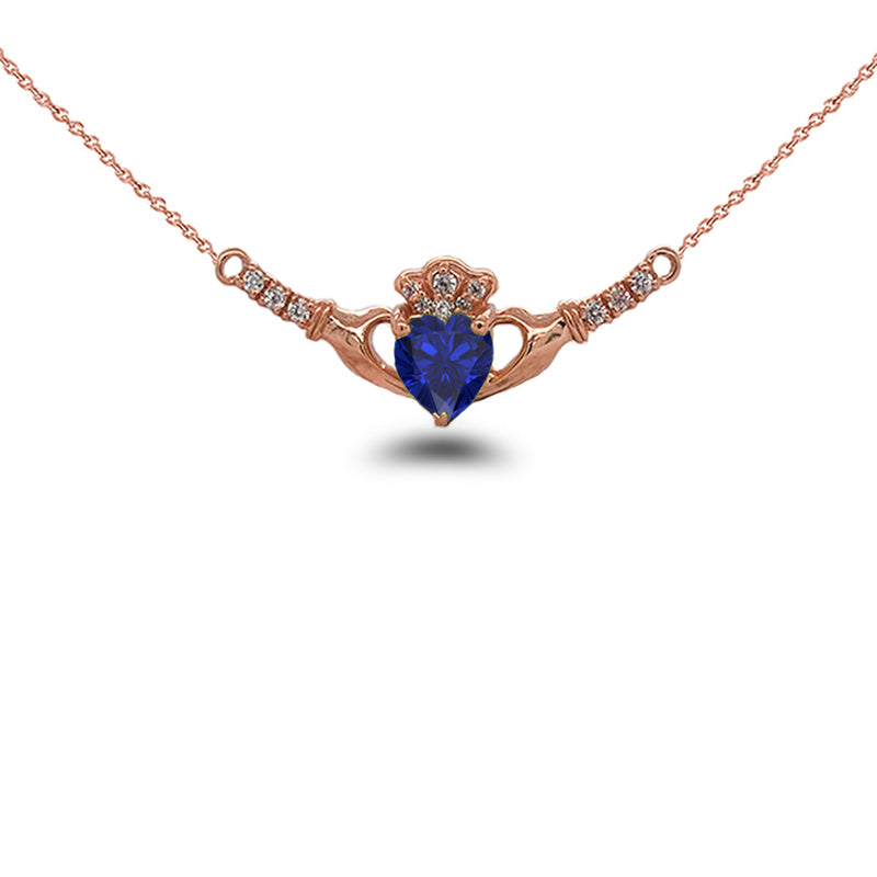 Claddagh Diamond & September Birthstone Heart Necklace in Solid Gold