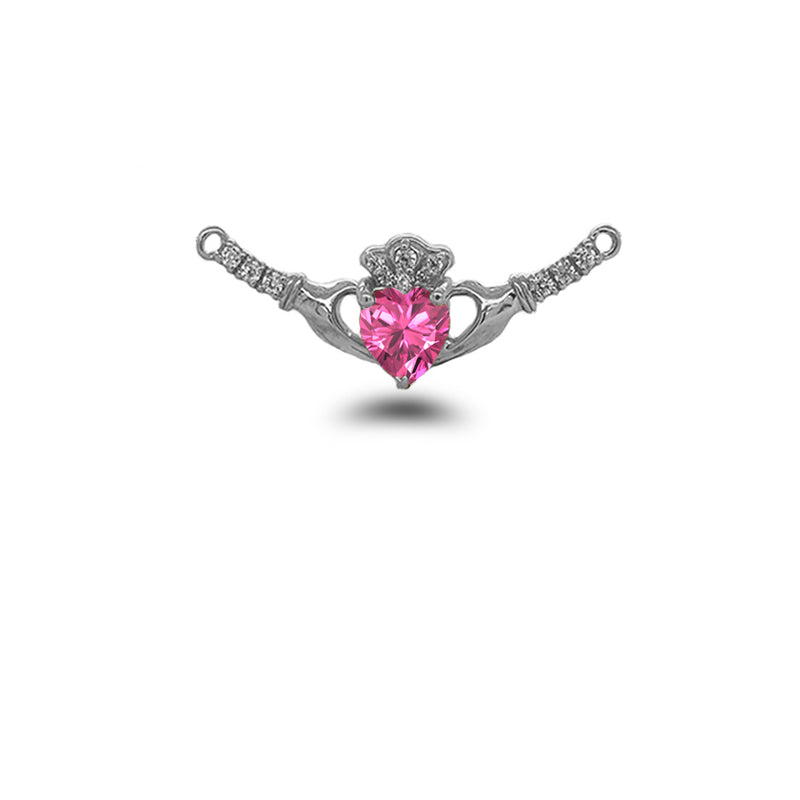 Claddagh Diamond & June Birthstone Heart Necklace in Solid Sterling Silver