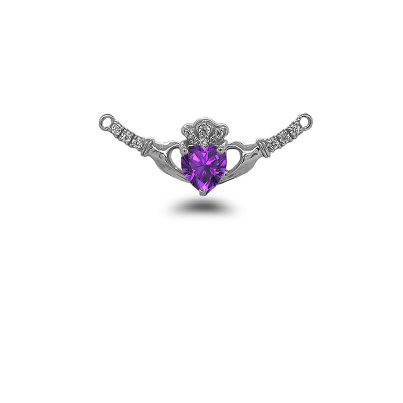 Claddagh Diamond & Genuine Amethyst Heart Necklace in Solid Sterling Silver