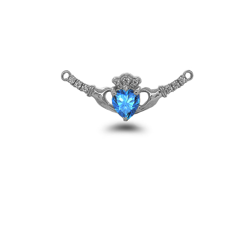 Claddagh Diamond & Genuine Blue Topaz Heart Necklace in Solid Sterling Silver