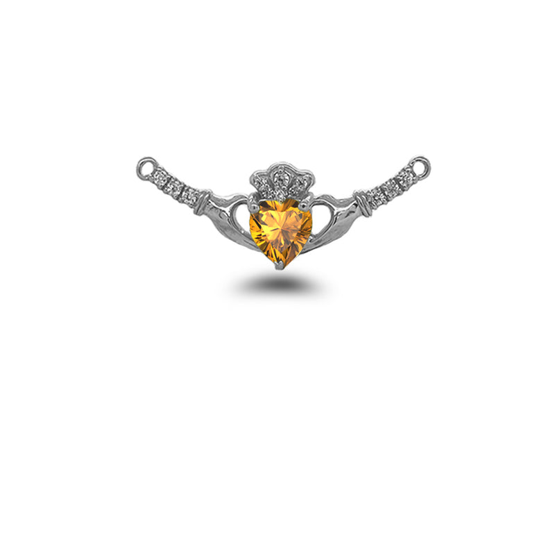 Claddagh Diamond & Genuine Citrine Heart Necklace in Solid Sterling Silver