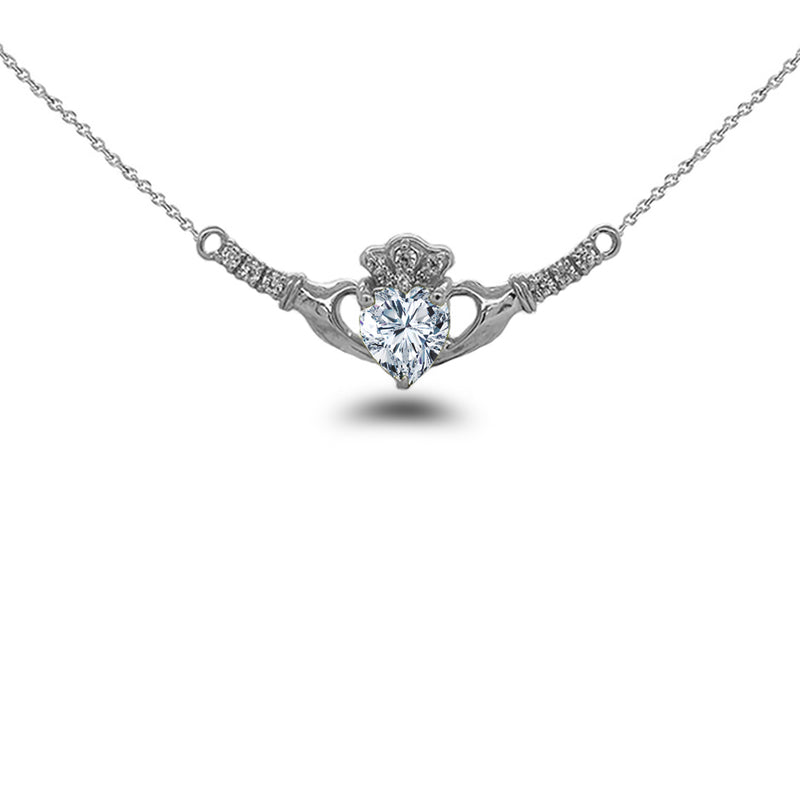 Claddagh Diamond & April Birthstone Heart Necklace in Solid Gold