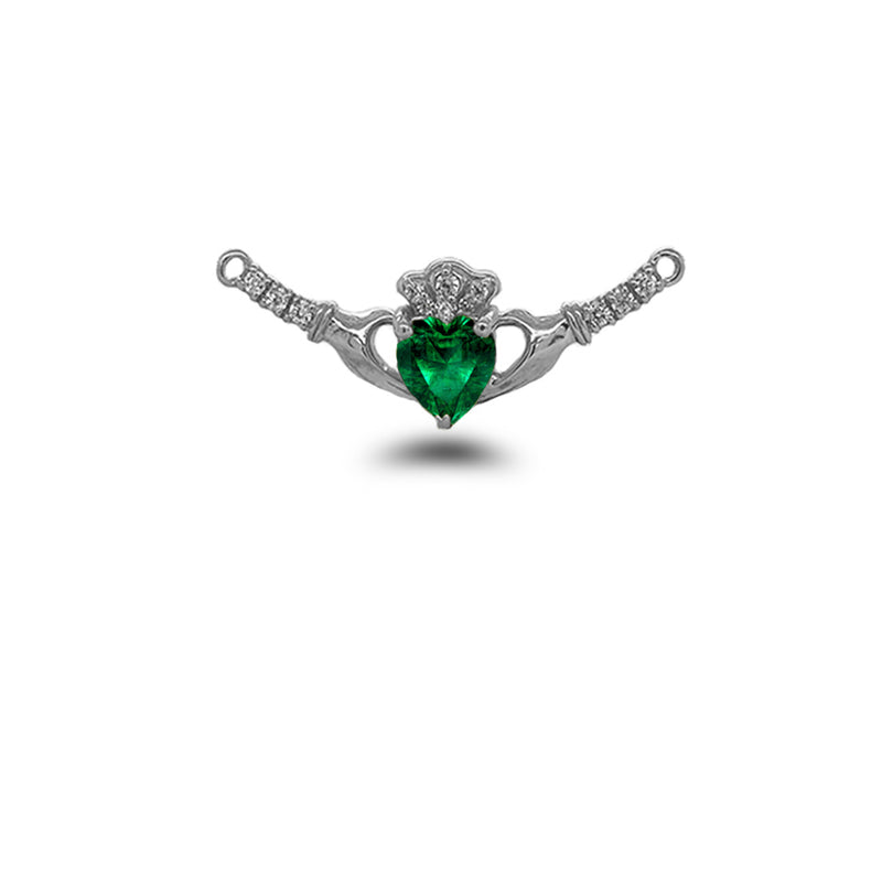 Claddagh Diamond & May Birthstone Heart Necklace in Solid Sterling Silver