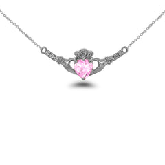 Claddagh Diamond & October Birthstone Heart Necklace in Solid Sterling Silver
