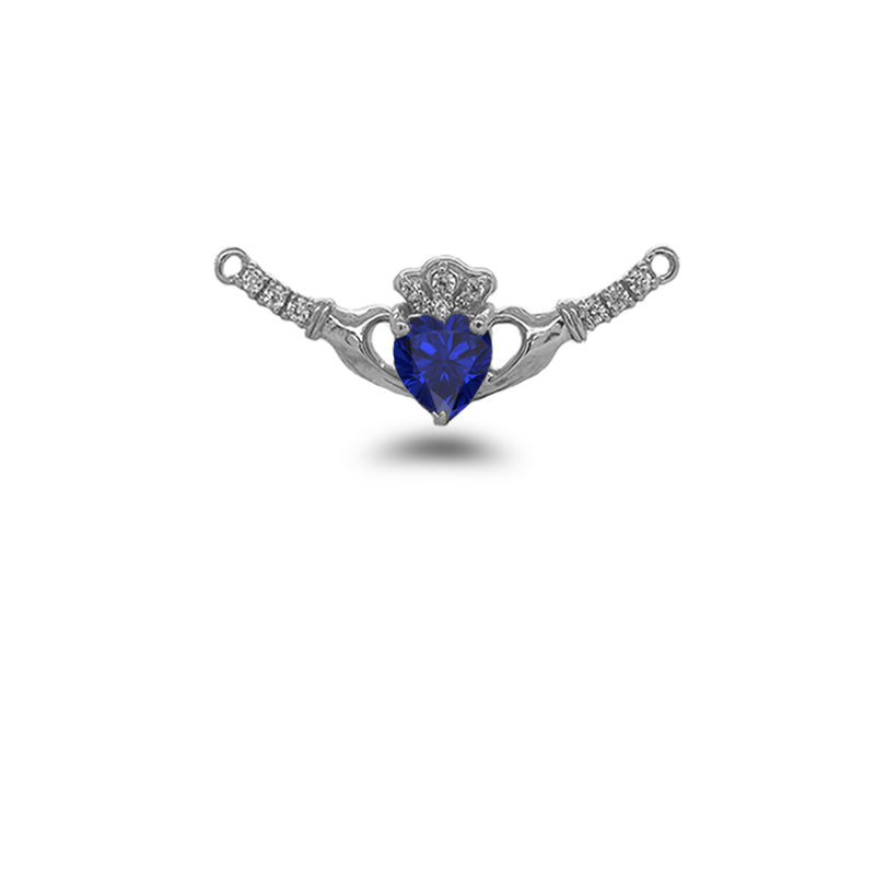 Claddagh Diamond & September Birthstone Heart Necklace in Solid Sterling Silver