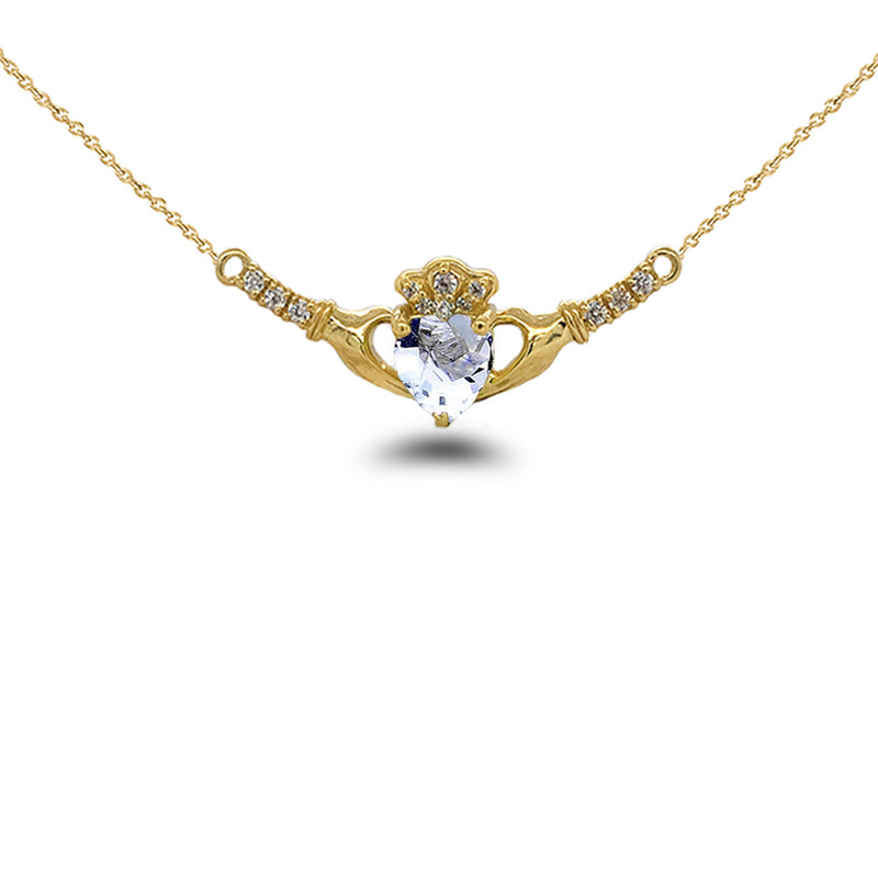 Claddagh Diamond & Genuine Aquamarine Heart Necklace in Solid Gold