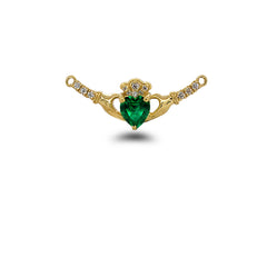 Claddagh Diamond & May Birthstone Heart Necklace in Solid Gold