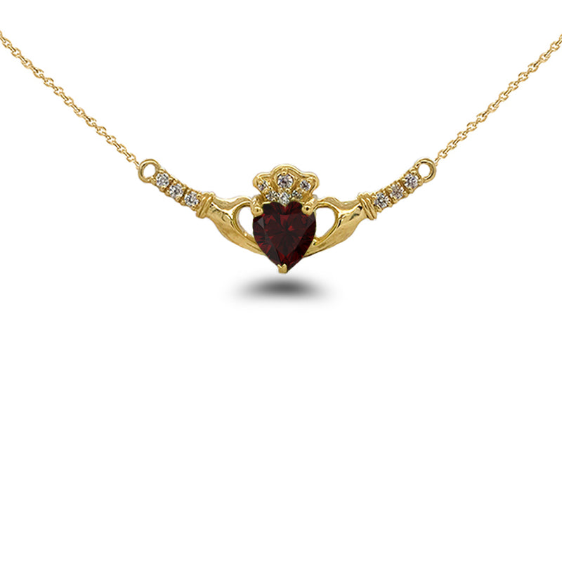 Claddagh Diamond & Genuine Garnet Heart Necklace in Solid Gold