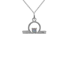 Libra Zodiac & October Birthstone Opal Pendant/Necklace in Sterling  Silver