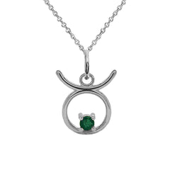 Taurus Zodiac & May Birthstone Genuine Emerald Pendant/Necklace in Sterling Silver