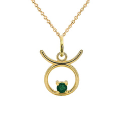 Taurus Zodiac & May Birthstone Genuine Emerald Pendant/Necklace in Solid Gold