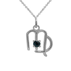 Virgo Zodiac & September Birthstone Genuine Sapphire Pendant/Necklace in Sterling Silver