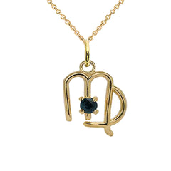 Virgo Zodiac & September Birthstone Genuine Sapphire Pendant/Necklace in Solid Gold