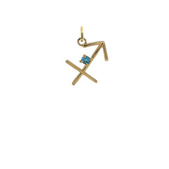 Saggitarius Zodiac & December Birthstone Genuine Topaz Pendant/Necklace in Solid Gold