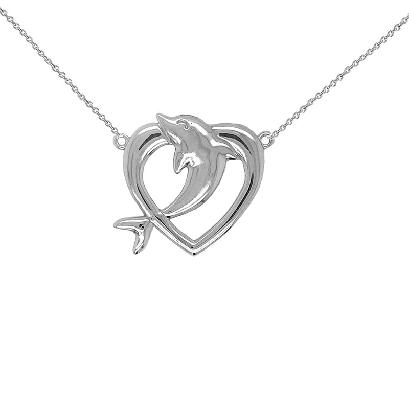 Open Heart-Shaped Dolphin Necklace in Sterling Silver