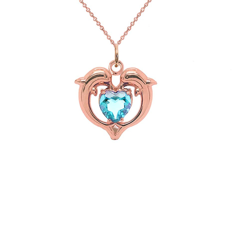 Dolphin Duo Open Heart-Shaped Aquamarine Pendant Necklace in Gold