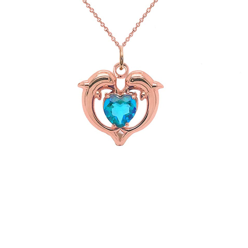 Dolphin Duo Open Heart-Shaped Blue Topaz Pendant Necklace in Gold