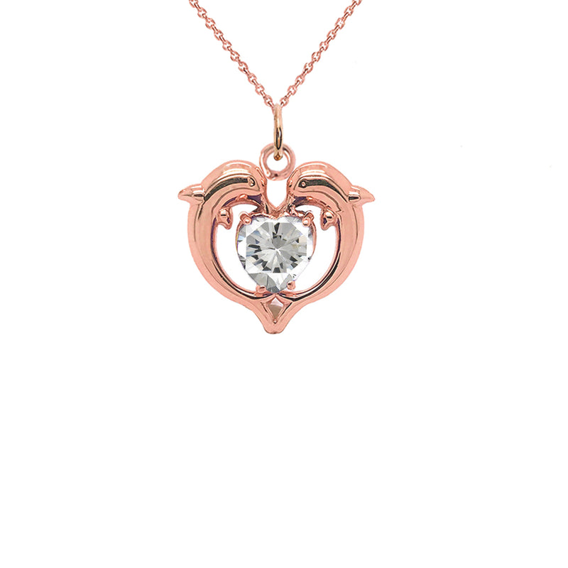 Dolphin Duo Open Heart-Shaped April Birthstone Pendant Necklace in Gold