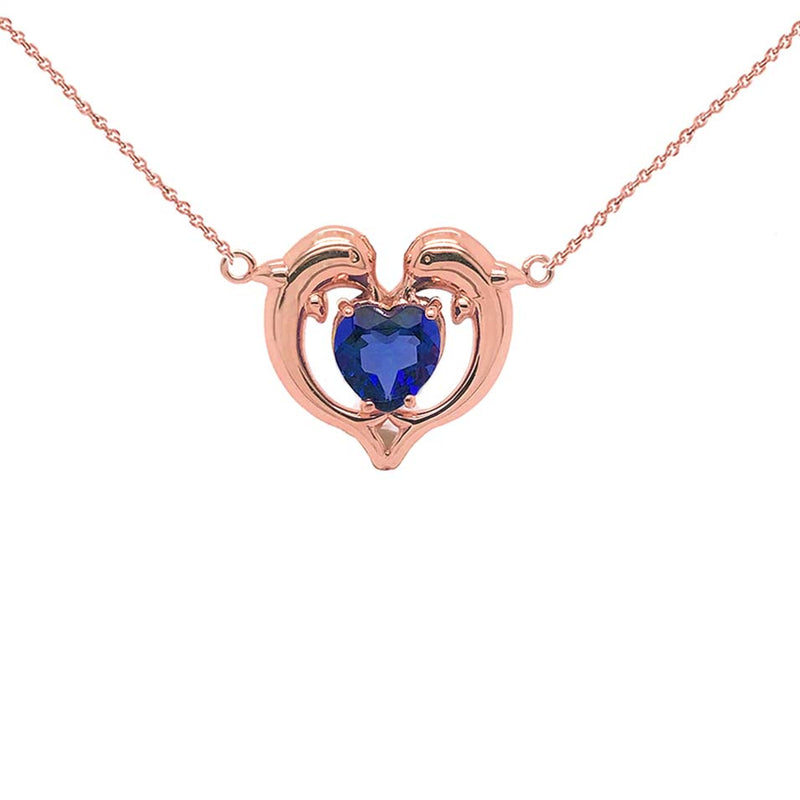 Dolphin Duo Open Heart-Shaped Birthstone CZ Necklace in Rose Gold