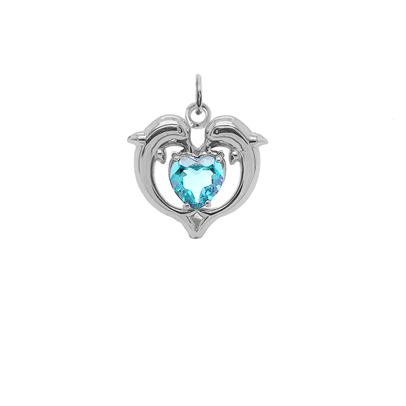 Dolphin Duo Open Heart-Shaped Genuine Birthstone Pendant Necklace in Sterling Silver