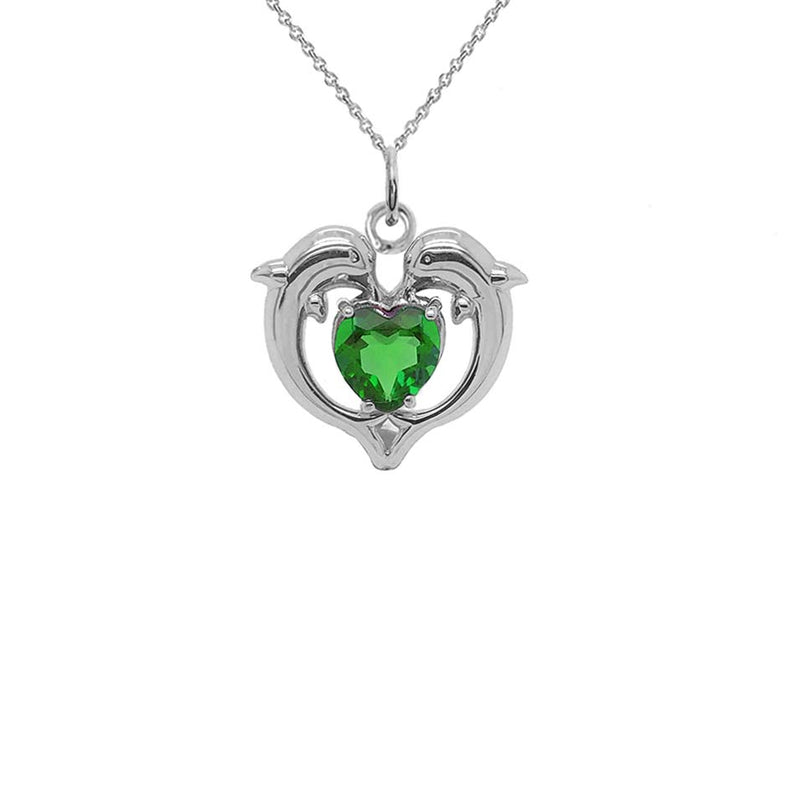 Dolphin Duo Open Heart-Shaped May Birthstone Pendant Necklace in Gold