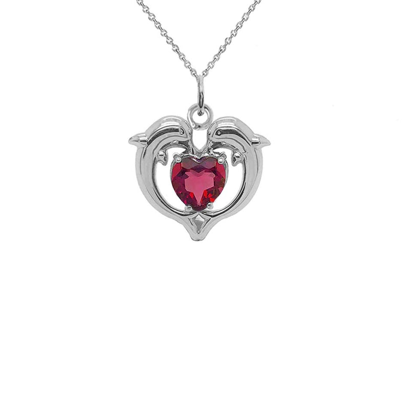 Dolphin Duo Open Heart-Shaped Garnet Pendant Necklace in Gold