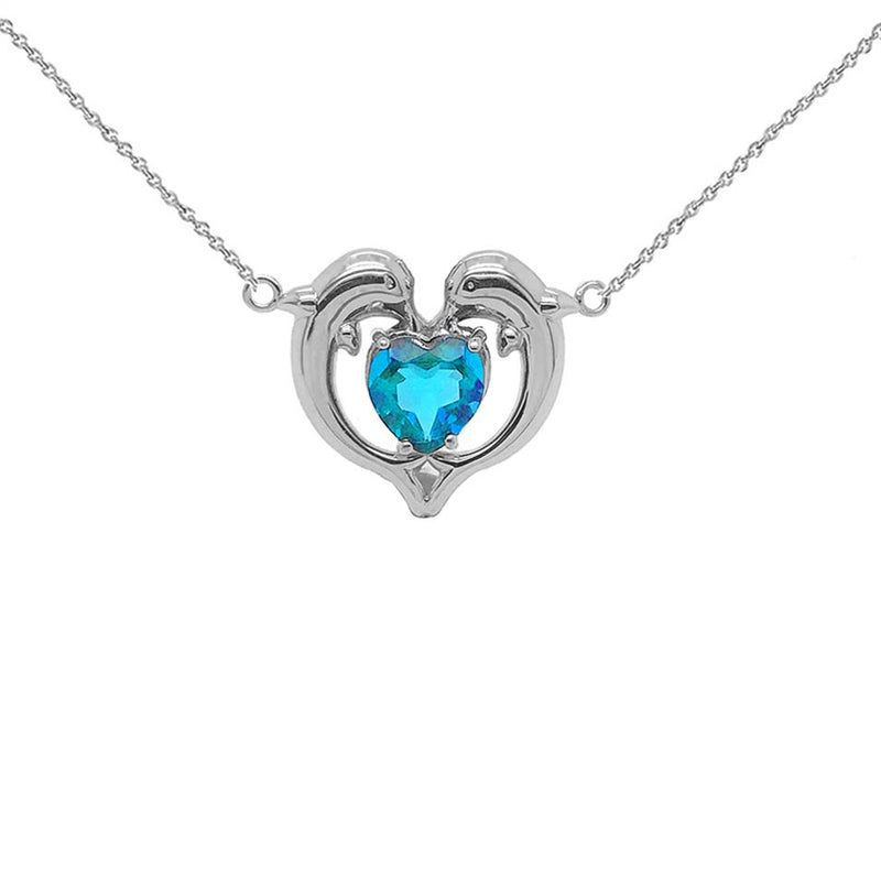 Dolphin Duo Open Heart-Shaped Genuine Birthstone Necklace in White Gold