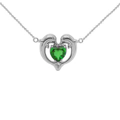 Dolphin Duo Open Heart-Shaped Birthstone CZ Necklace in White Gold