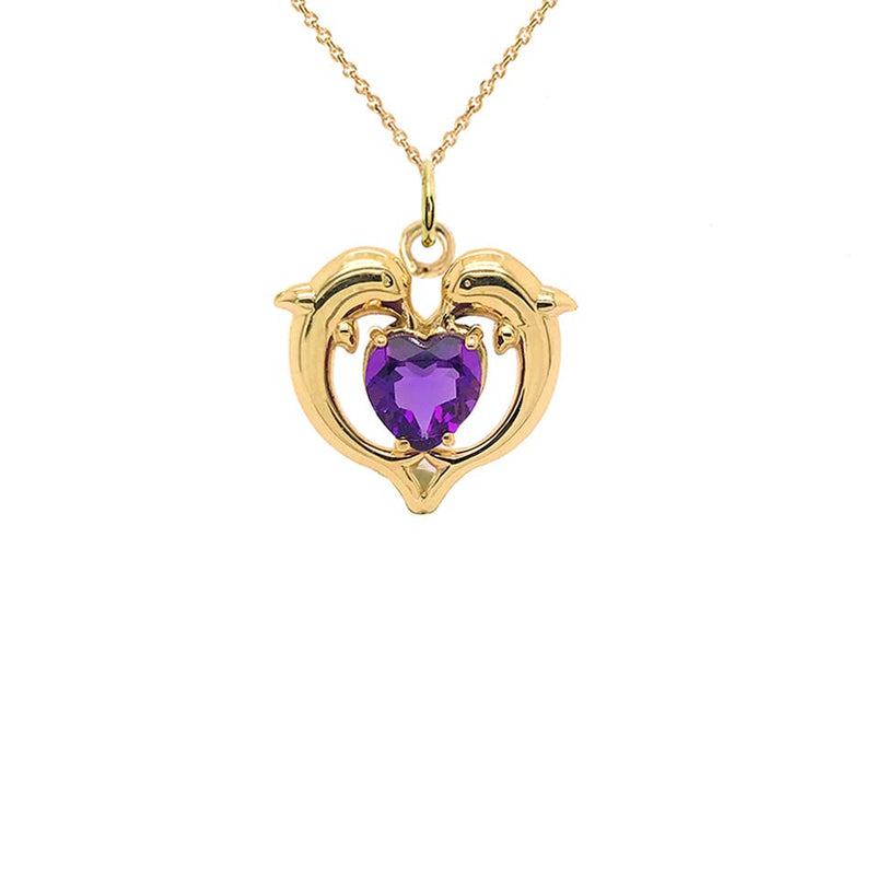 Dolphin Duo Open Heart-Shaped Amethyst Pendant Necklace in Gold