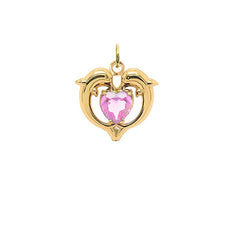 Dolphin Duo Open Heart-Shaped October Birthstone Pendant Necklace in Gold