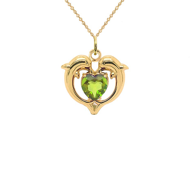 Dolphin Duo Open Heart-Shaped Peridot Pendant Necklace in Gold