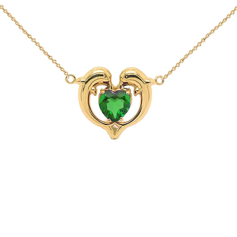 Dolphin Duo Open Heart-Shaped Birthstone CZ Necklace in Yellow Gold