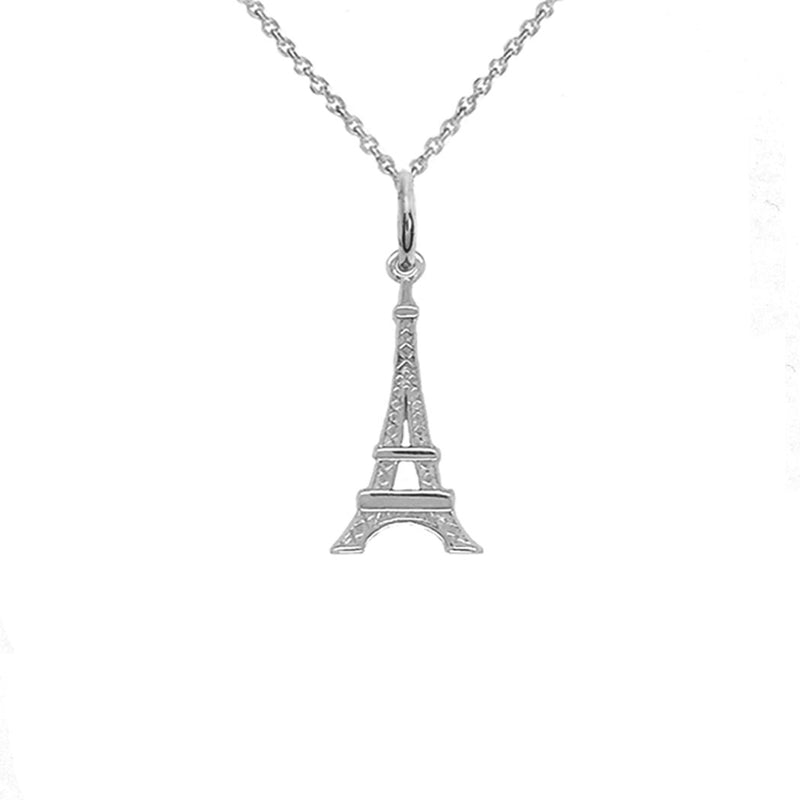 Tiny Eiffel Tower Charm Pendant Necklace in Sterling Silver