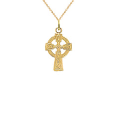 Celtic Trinity Knot Cross Pendant Necklace in Gold