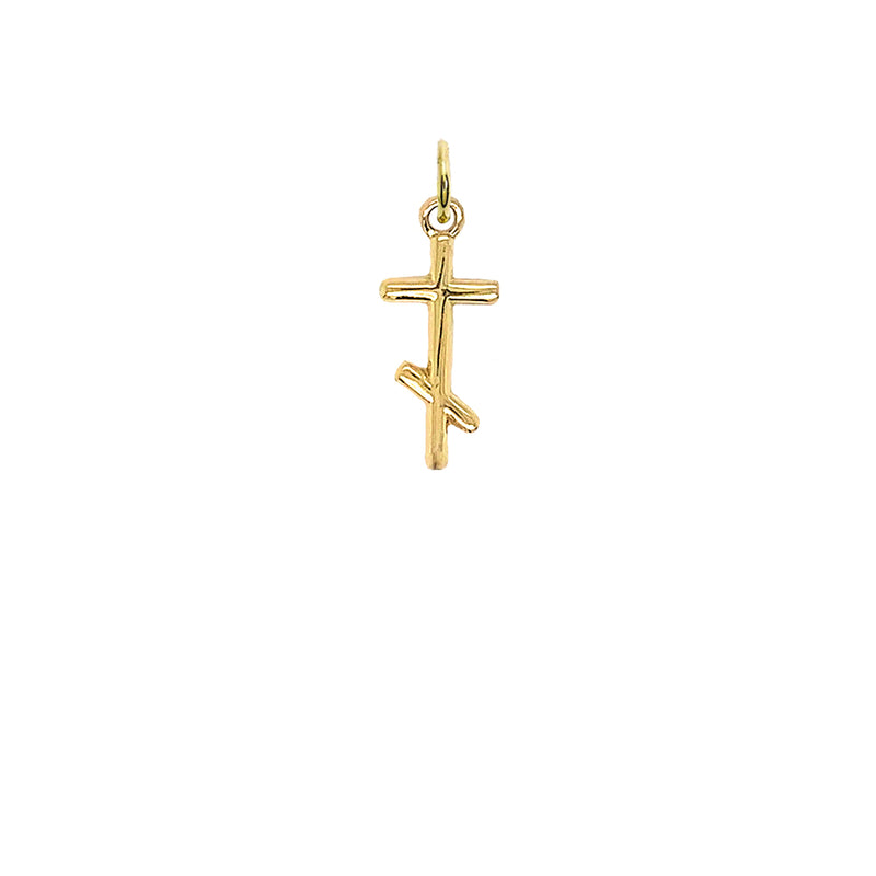 Dainty Russian Orthodox Cross Pendant Necklace in Gold