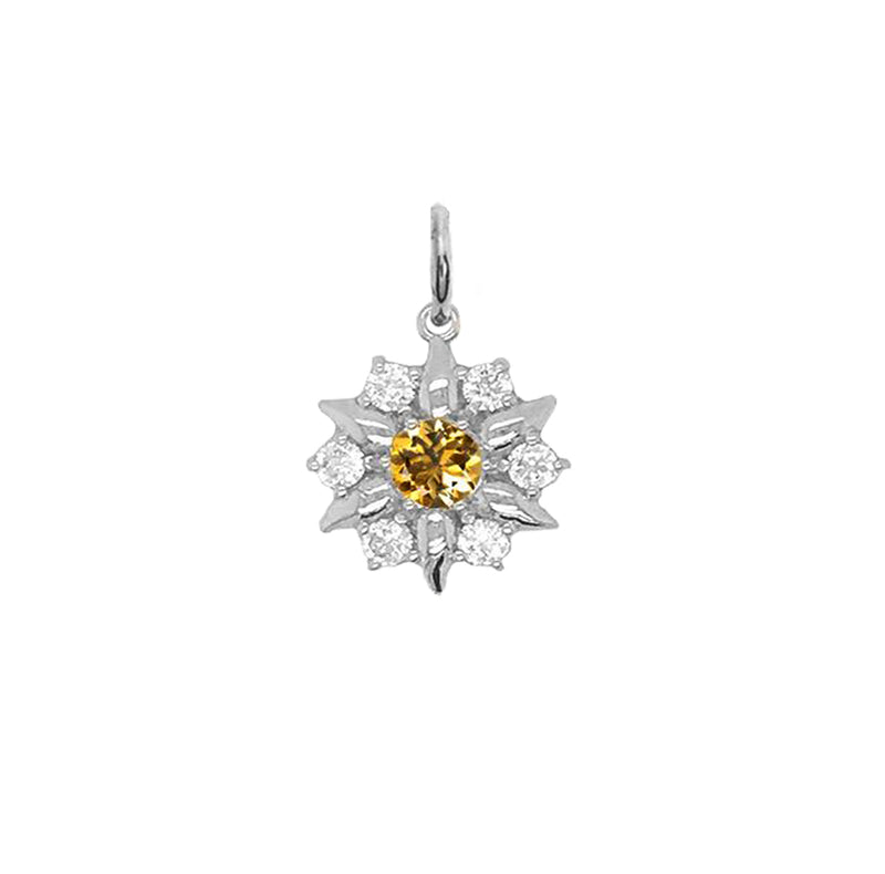 North Star Designer Genuine Citrine and White Topaz Pendant Necklace in Solid Gold