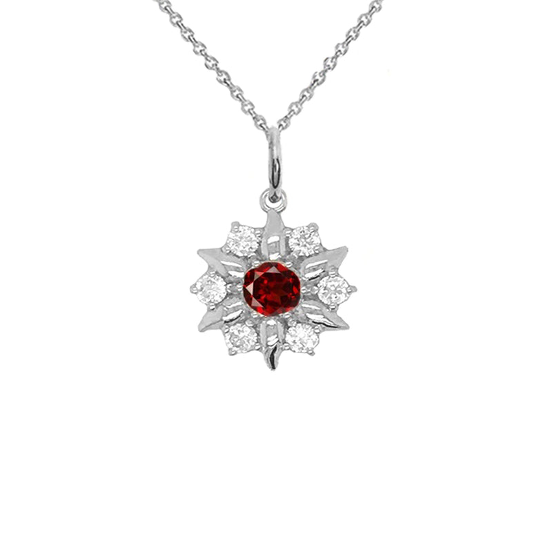 North Star Designer Genuine Garnet and White Topaz Pendant Necklace in Solid Gold
