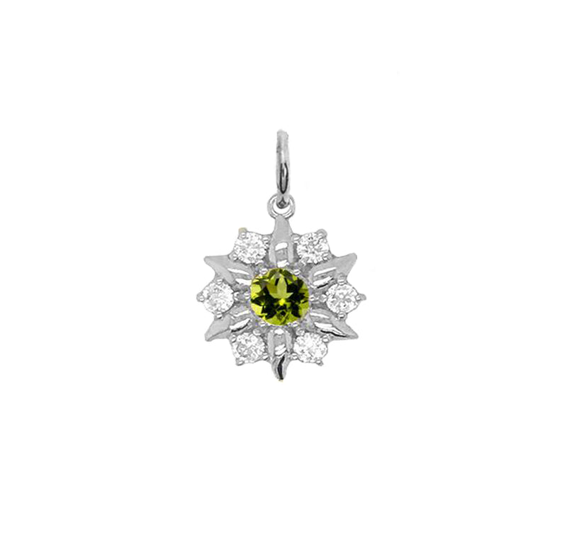 North Star Designer Genuine Birthstone and White Topaz Pendant Necklace in Sterling Silver